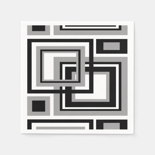 Abstract Black Grey Grey Geometric Square Pattern Paper