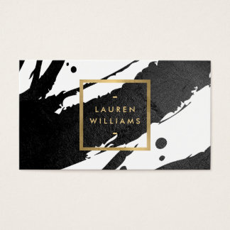 Abstract Black Ink Brushstrokes Business Card