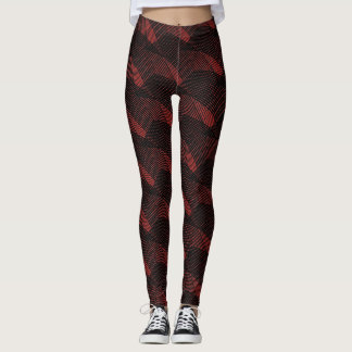 Abstract Black Lines Modern Red Leggings