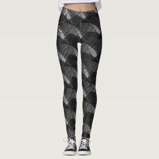 Abstract Black Lines Modern White Leggings