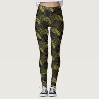 Abstract Black Lines Modern Yellow Leggings