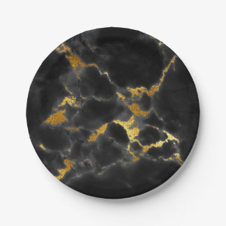 Abstract Black Marble Glam Golden Vip Paper Plate