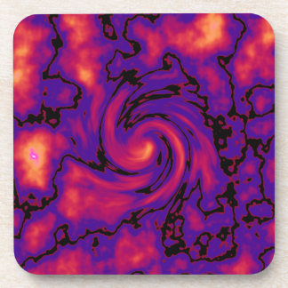 Abstract black pink red purple art drink coasters