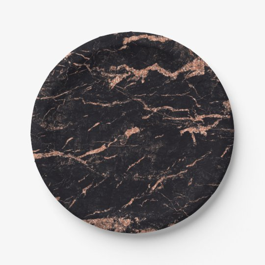 Abstract Black Rose Gold Glitter Marble Glam Vip 7 Inch Paper Plate