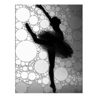 Abstract Black & White Dancing Ballerina Postcard