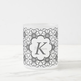 Abstract Black White Flower Doodle Heart Pattern. Frosted Glass Mug