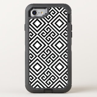 Abstract Black White Geometric Line Pattern OtterBox Defender iPhone 8/7 Case
