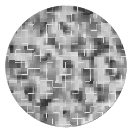 Abstract Black White Grey Plate