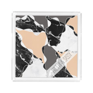 Abstract black white marble gray peach colorblock acrylic tray