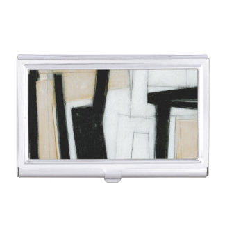 Abstract Black & White Painting Business Card Holder