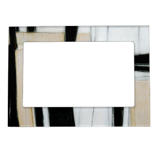 Abstract Black & White Painting Magnetic Picture Frame