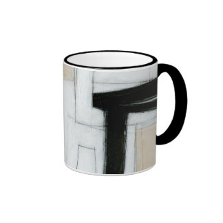 Abstract Black & White Painting Ringer Mug
