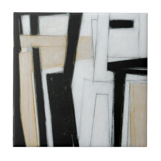 Abstract Black & White Painting Small Square Tile