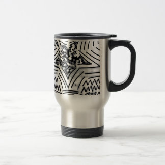 "Abstract Black/White ""Star"" Travel Mug"