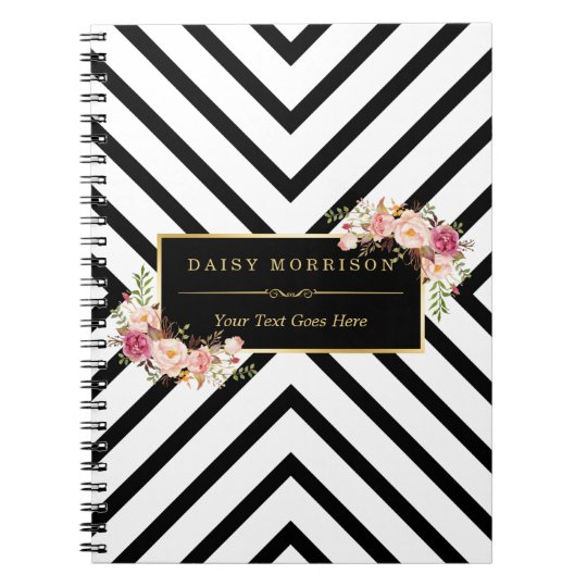 Abstract Black White Stripes and Floral Gold Frame