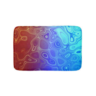 Abstract Blood and Water Red and Blue Bath Mats