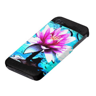 Abstract bloom wraps turquoise pink iPhone 4 covers