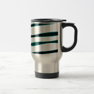 Abstract Blue and Black Curved Stripes Stainless Steel Travel Mug