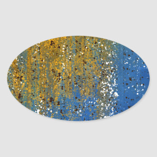 Abstract Blue and Bronze Design Oval Stickers