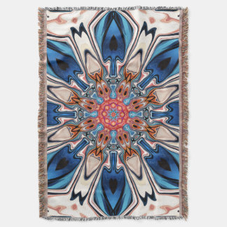 Abstract Blue And Orange Flower Throw Blanket