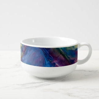 Abstract Blue and Purple Colors Swirled Soup Mug