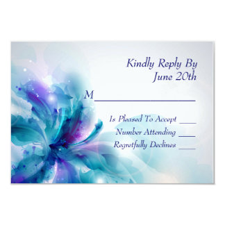 "Abstract Blue and Purple Floral Design RSVP Card 3.5"" X 5"" Invitation Card"