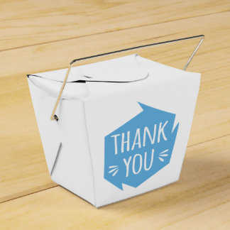 Abstract Blue And White Thank You - Wedding Party Favour Box