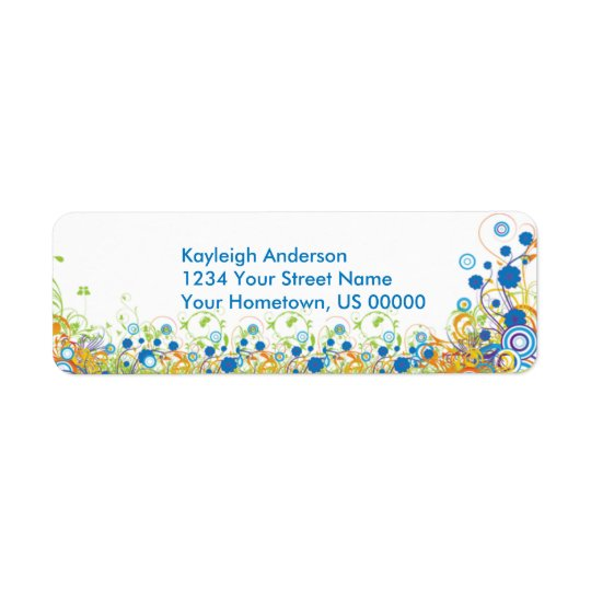 Abstract Blue and Yellow Flowers Return Address La