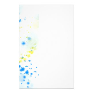 Abstract Blue and Yellow Paint Splatter Personalised Stationery