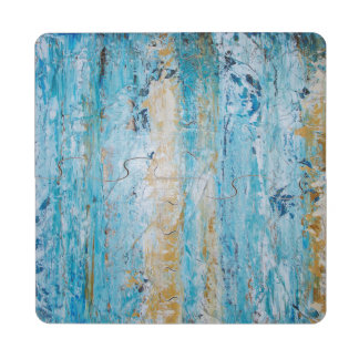 Abstract Blue and Yellow Puzzle Coaster