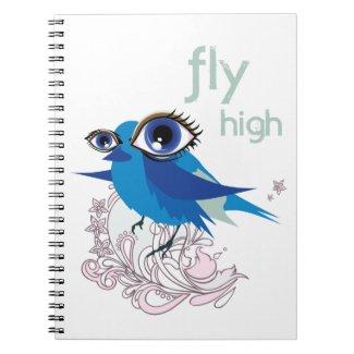 """Abstract Blue Bird """"Fly High"""" A5 Notebook"""