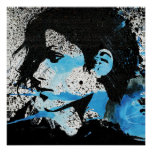 Abstract  Blue Black White Girl Watercolor Art Poster
