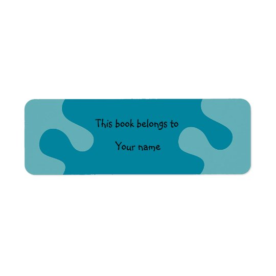 Abstract blue bookplate return address label