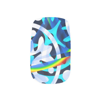 Abstract blue  colorful shapes cute minx nail art