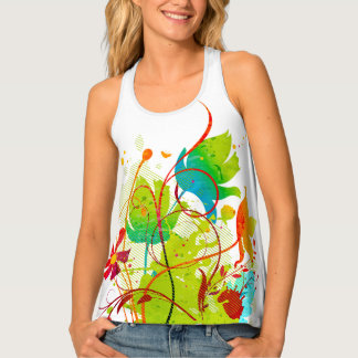 Abstract Blue Coral Green Floral Floral Pattern Tank Top