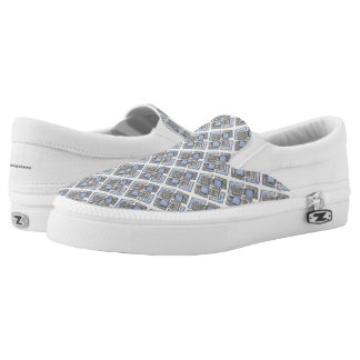 Abstract Blue Diamond Pattern Slip On Shoes