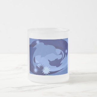 Abstract Blue Dolphins Mugs