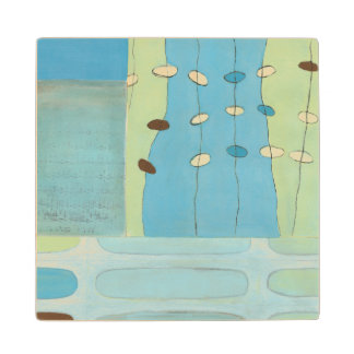 Abstract Blue Egg Parade Wood Coaster