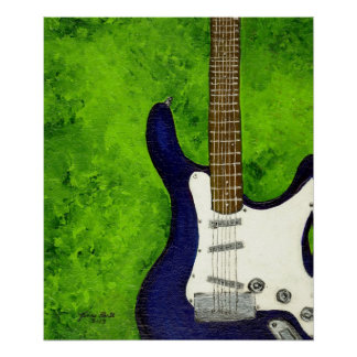 Abstract  blue electric guitar w/green background print