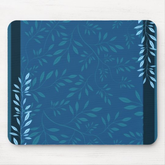 Abstract Blue floral leaves Mouse Mat