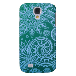 Abstract Blue Floral Pattern Galaxy S4 Case