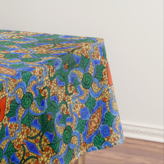Abstract Blue Floral Pattern Tablecloth