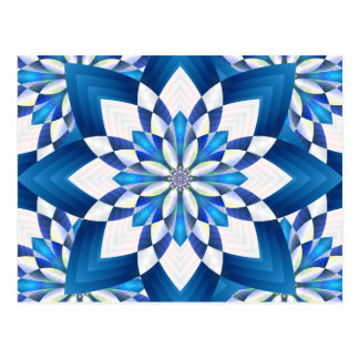 Abstract Blue Floral Postcard