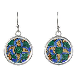 Abstract Blue Flower Earrings