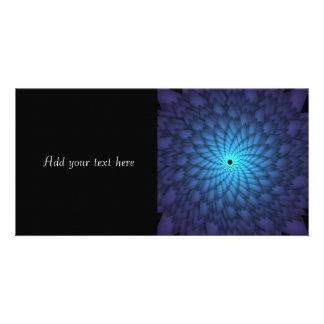 Abstract Blue Flower Fractal Art Photo Card Template