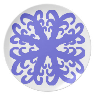 Abstract Blue Flower Plate