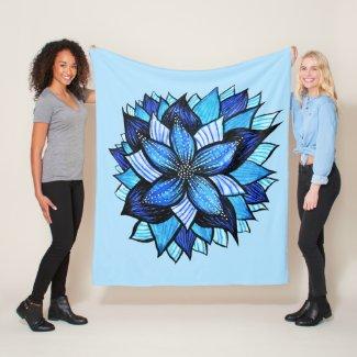 Abstract Blue Flower Pretty Floral Mandala Ink Art Fleece Blanket