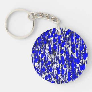 Abstract Blue Flowers Double-Sided Round Acrylic Key Ring