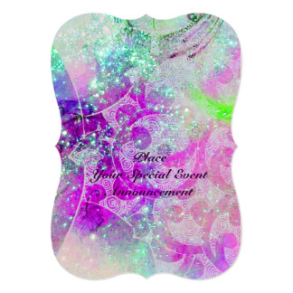 ABSTRACT BLUE GEM,PINK TEAL PURPLE WAVES ,SPARKLES CUSTOM ANNOUNCEMENT