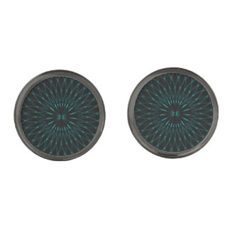 Abstract Blue Geometric Graphic Gunmetal Finish Cuff Links